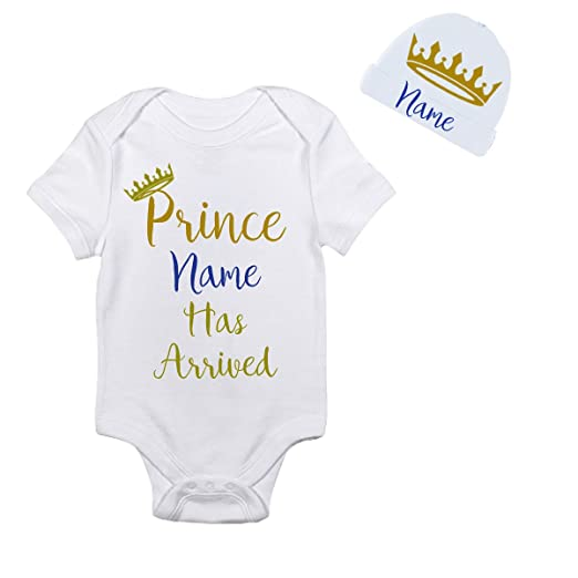 53fc2d8a Personalized Prince has Arrived Gold Crown on Hat Personalized with Your  Babys Name Onesie Cute Onesies