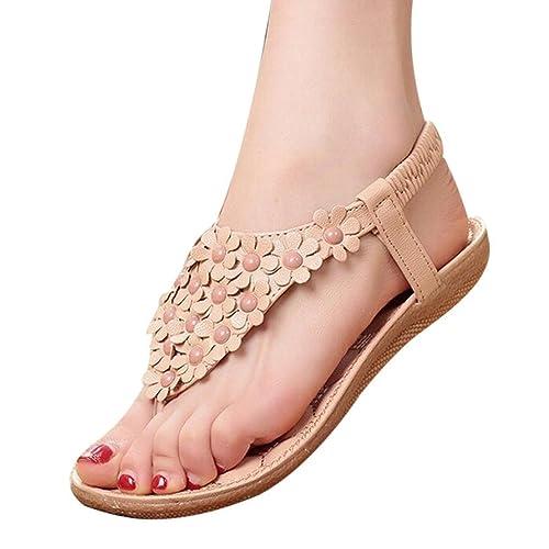 Amazon.com | Maybest Women Bohemia Style Flower Beads T-Strap Flip Flop  Flats Slip On Thong Sandals | Flats