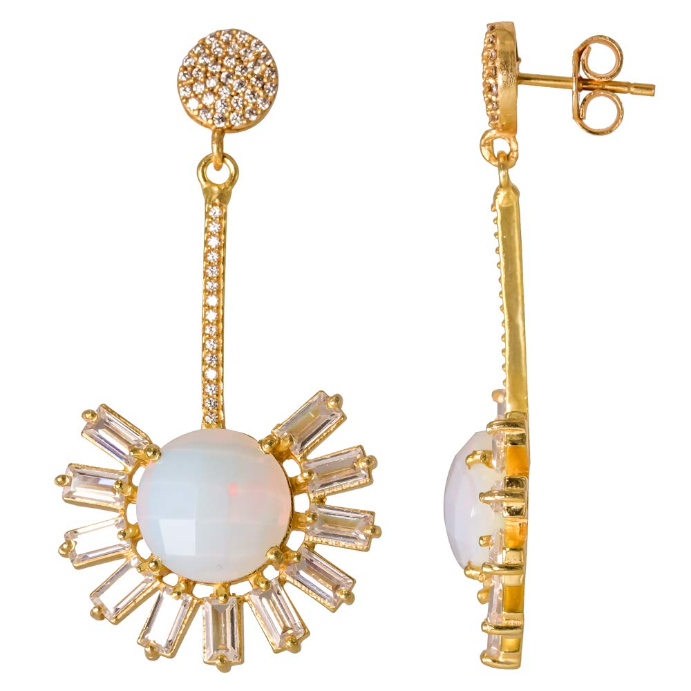 CZ Earrings Opolite Quartz 18k Gold Plated 925 Sterling Silver Bezel Handmade Stud Earrings