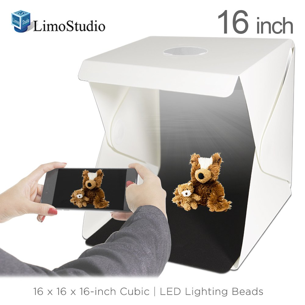 LimoStudio 16-inch Cubic 70 LED Light Foldable & Portable Photo Shooting Tent Box Kit, Including White/Black Background, USB Cable Power, Commercial Product Shoot, Small Medium Size Product, AGG2334 by LimoStudio