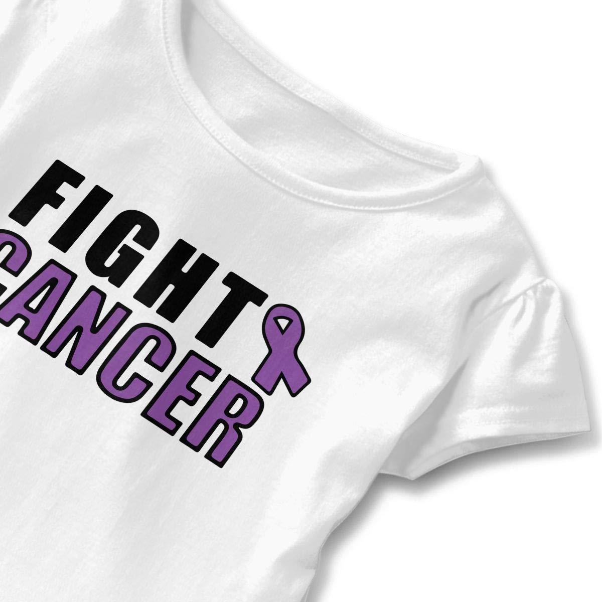 SHIRT1-KIDS Fuck Ovarian Cancer T-Shirts Childrens Girls Short Sleeve Ruffles Shirt T-Shirt for 2-6T