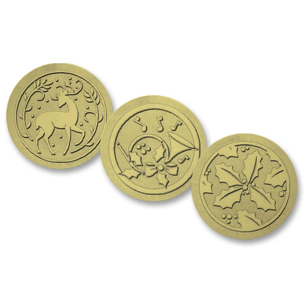 Deluxe Embossed Assorted Deer, Holly, French Horn Holiday Gold Foil Seals, 1 3/8 Inches, 54 Count