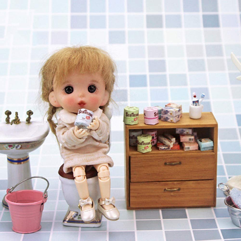 ypypiaol 3Pcs Mini Paper Towels Rolls Toy DIY Miniature Landscape Doll House Accessory Gift 3pcs