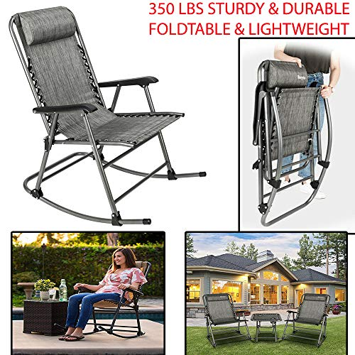 350 Lbs Sturdy & Durable Zero Gravity Rocking Chair Beach Reclining Folding Chairs with Armrest & Non-Detachable Headrest for Camping Hiking Perfect for Backyard, Beach or Sporting Events