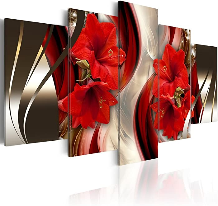 Canvas Wall Art Red Flower Print Painting Modern Contemporary Picture Home Decor Crimson Floral HD Giclee Artwork 5 Panels Stretched 40x20