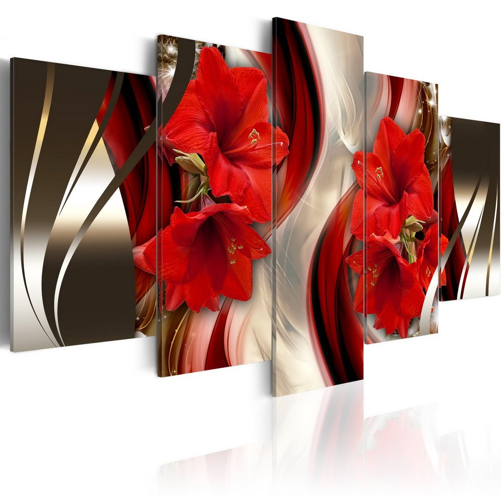 """Everlands Art Canvas Wall Art Red Flower Print Painting Modern Contemporary Picture Home Decor Crimson Floral HD Giclee Artwork 5 Panels Stretched on Wooden Frame (40""""x20"""", Crimson)"""