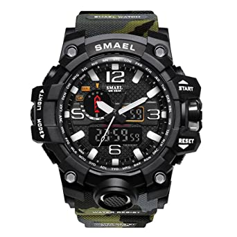 Relojes Analógicos de Cuarzo Reloj Digital Hombres LED Relojes Deportivos Reloj Militar de Hombres Camuflaje Verde: Amazon.es: Relojes