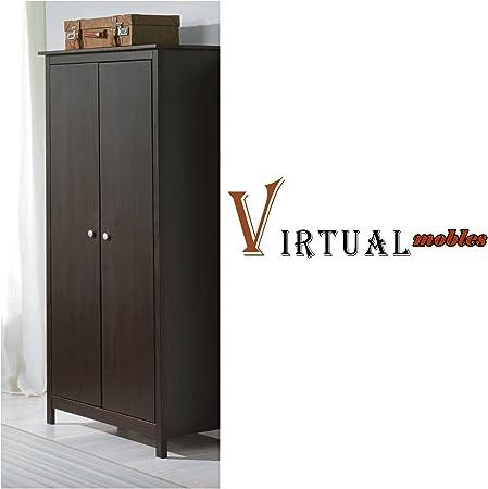 Armadio 2 Ante Wenge.Virtualmobles Armadio 2 Ante In Legno Colore Wenge Amazon It Casa E Cucina