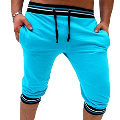 fb64c08ca3 Hongxin Mens Shorts Three Quarter Length Shorts Summer Stripe Gym Shorts  Breathable 3/4 Shorts Casual Versatile Trousers: Amazon.co.uk: Clothing