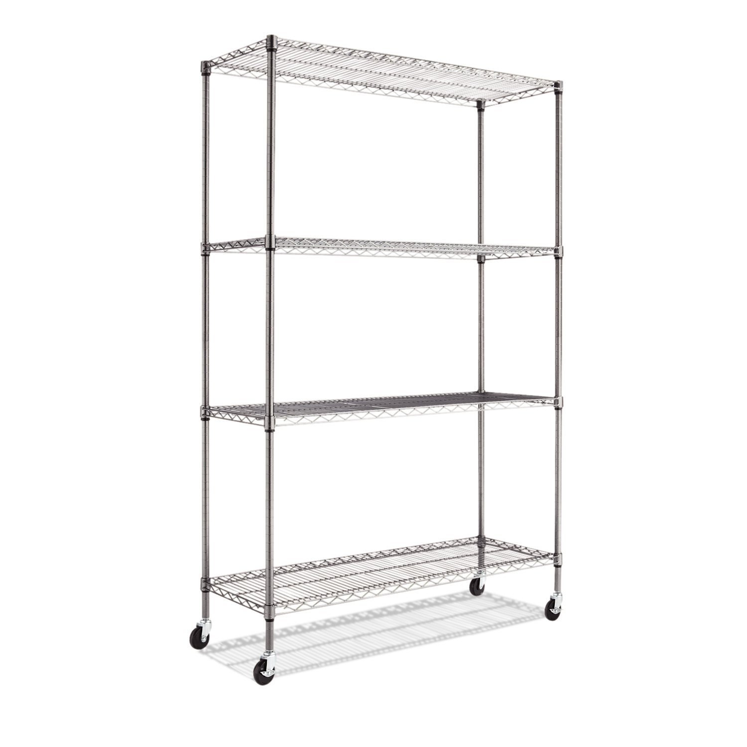 Amazon.com: Alera Complete Wire Shelving Unit With Caster, Black  Anthracite: Kitchen U0026 Dining