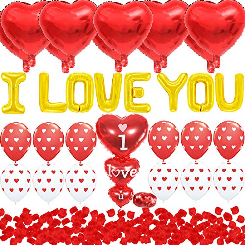 - JOYMEMO Valentines Day Decorations Red Wedding I Love You Heart Shaped Foil Balloons and Silk Rose Petals Romantic Design for Engagement, Bridal Shower, Anniversary Party