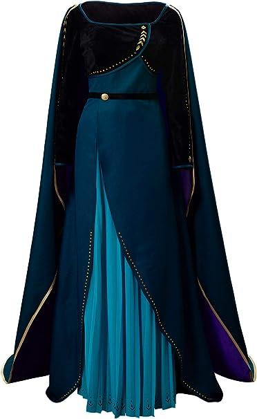 lancoszp Anna Vestido de Seda Azul con Falda Plisada y Capa de ...