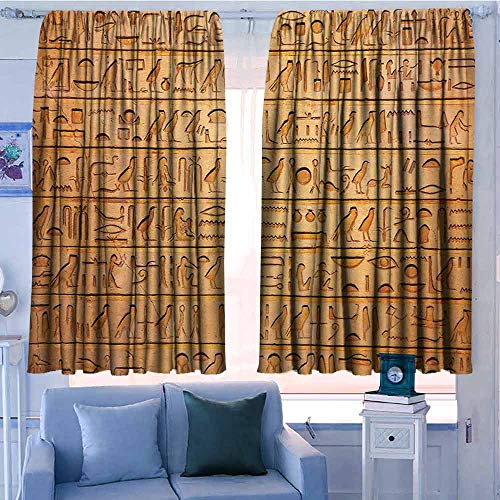 - AndyTours Waterproof Window Curtain,Egyptian Decor Hieroglyphics Great Pyramid Papyrus Ancient Stone Carving Cave Picture,Simple Stylish,W72x63L Inches