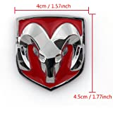 Areyourshop Red Head Grill Tailgate Emblem Badge Sticker Decal Chromed Metal for Dodge Ram 4x4.5 CM(1.57X1.77 Inch), Red