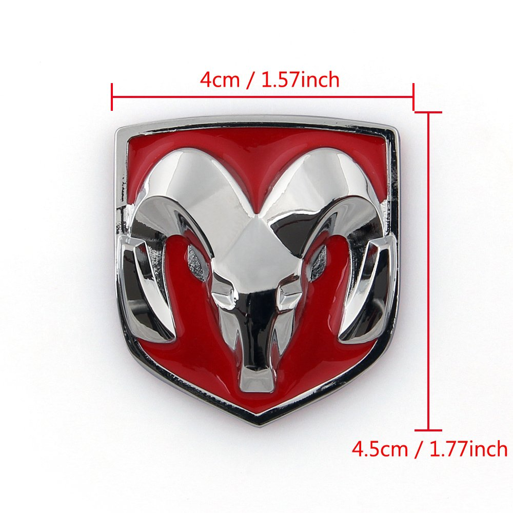 Areyourshop Red Head Grill Tailgate Emblem Badge Sticker Decal Chromed Metal for Dodge Ram 4x4.5 CM 1.57X1.77 Inch Red