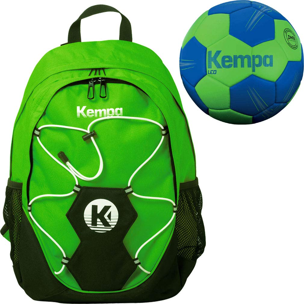 Kempa - Mochila con pelota Red verde + balonmano tamaño 0 1 2 o 3 ...