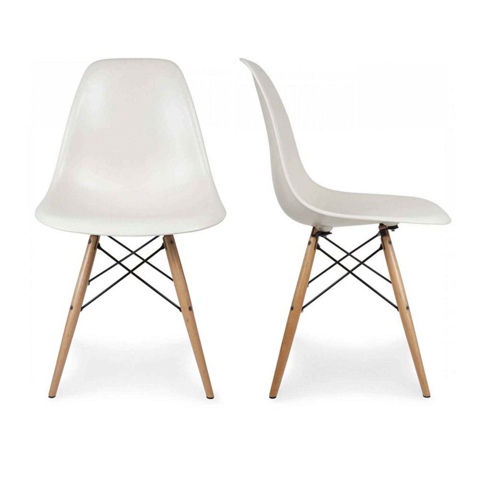 Set of 2 Retro Style Wood Base Mid Century Modern Shell Dining wooden Chair Dowel legs White #566