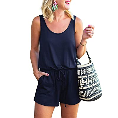 YOUNDI Women Summer Rompers Loose Solid Sleeveless Jumpsuit Adjustable Waist Short Pant Rompers: Clothing