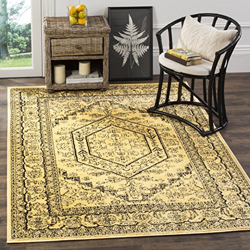 Collection ADR108H Gold and Black Oriental Vintage Medallion Area Rug (4' x 6') (6 Gold Area Rug)