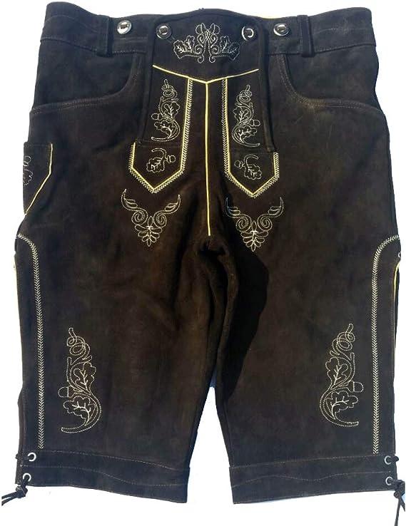 Bavarian Lederhosen Oktoberfest German Leather Choc Brown with Matching Shorts