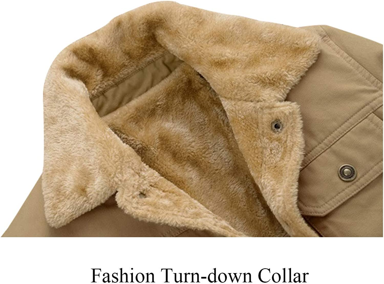 JEKAOYI Men Winter Jacket Military Turn-Down Collar Casual Button-Front Slim Fit Warm Coat