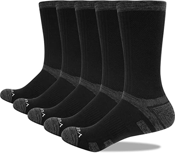 YUEDGE Mens Athletic Thermal Crew Walking Socks Breathable Wicking Performance Cotton Cushion Padded Reinforced Heels and Toes Boot Work Socks for Men 8 6-11 9-11 Size Uk 5 Multi Pack