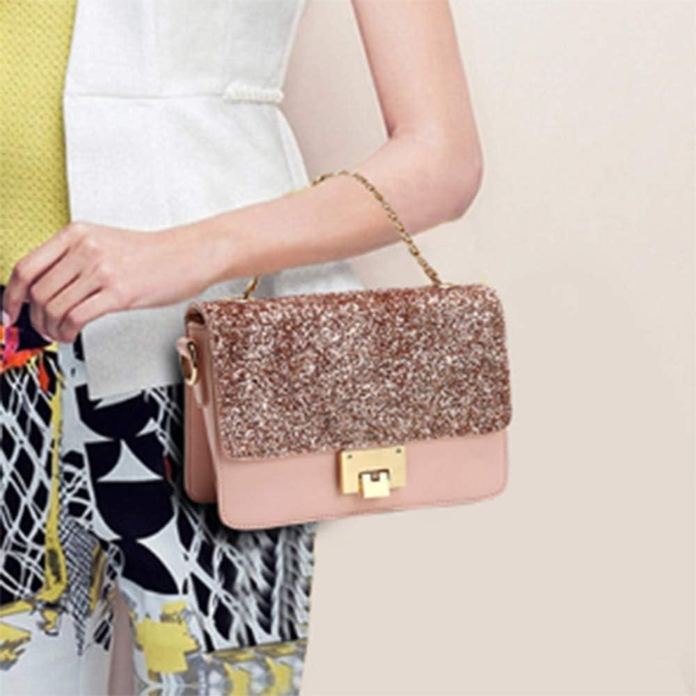 Womens Bag Chain Shoulder Strap Womens Casual Buckle Diagonal Package Simple PU Leather Bag Comfortable Metal Shoulder Bag Small Square Bag Pink 22cm*9cm*15cm