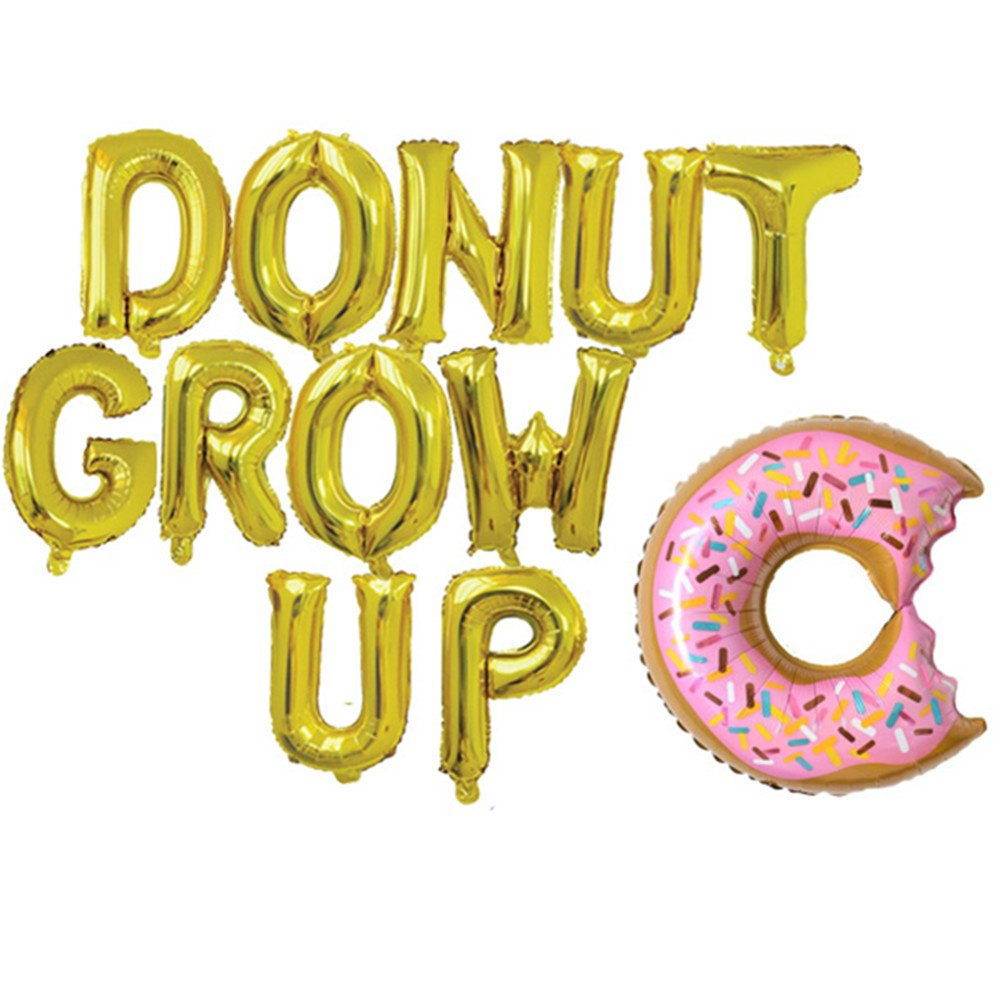 Rose&Wood Donut Grow Up Foil Letter Balloons,Donut Grow Up Theme,Donut Theme Birthday,Donut Theme Party,16'', Gold by Rose&Wood (Image #1)