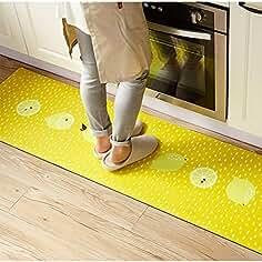 Ukeler Rubber Backing Non Slip Kitchen Rugrunner Yellow Lemon Waterproof And Oil Proof