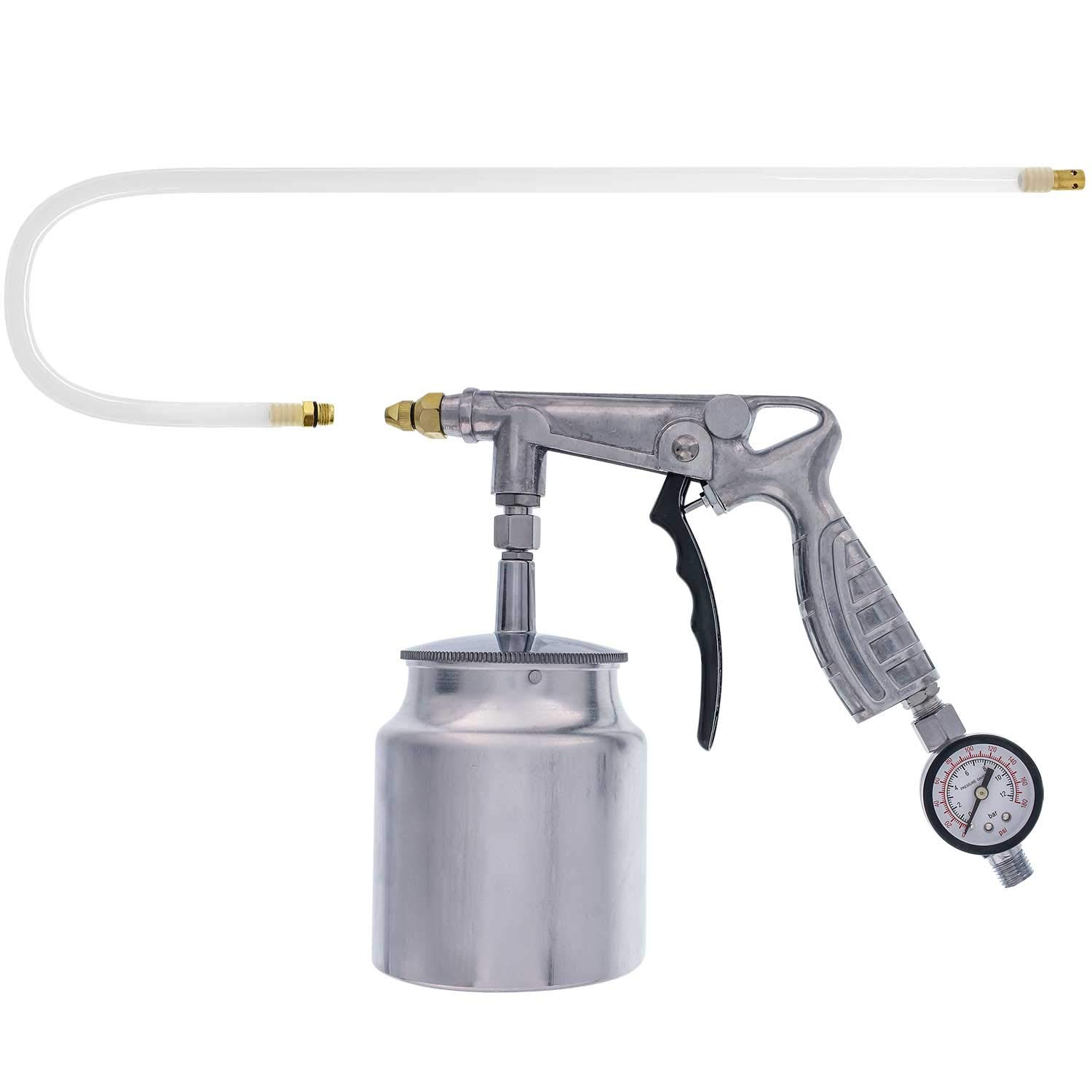 TCP Global Air Rust Proofing and Undercoating Gun with Gauge & Suction Feed Cup - Includes 22'' Long Flexible Extension Wand with Multi-Directional Nozzle - Spray Truck Bed Liner, Rubberized Undercoat
