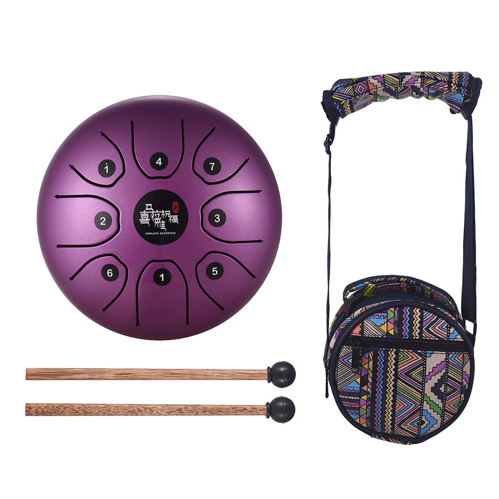 Muslady 5.5 Inch Mini 8-Tone Steel Tongue Drum C Key Percussion Instrument Hand Pan Drum with Drum Mallets Carry Bag by Muslady