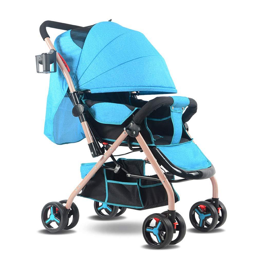 高風景のベビーカーショックプルーフ4つの車輪5点のシートベルトとストレージバスケット、軽量折りたたみ0~3歳の赤ちゃん (色 : 青)  青 B07KWTY7SB