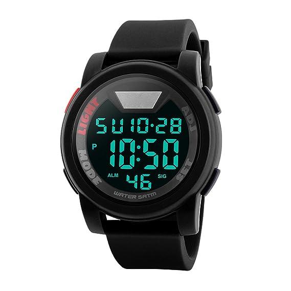 Los hombres de la Digital 50 m impermeable electrónica único redondo al aire libre reloj deportivo banda de silicona resistente ejército Militar 24h Tim: ...