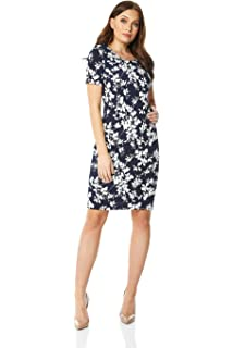 ce256ee4854e Roman Originals Floral Print Bodycon Dress in Black - Ladies Everyday Smart  Casual Work Office Meeting
