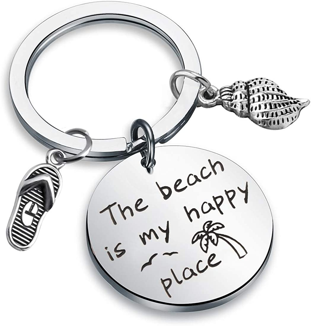 CHOORO The Beach is My Happy Place Keychain Beach Girl Gift for Beach Lover