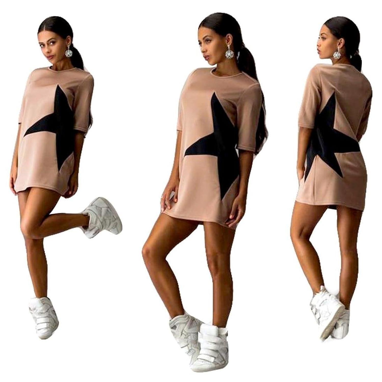 Frauen Kleid,Xinan 1PC Frauen beiläufige lose Stern gedruckte halbe Hülsen-Kurzschluss -Minikleid Sport