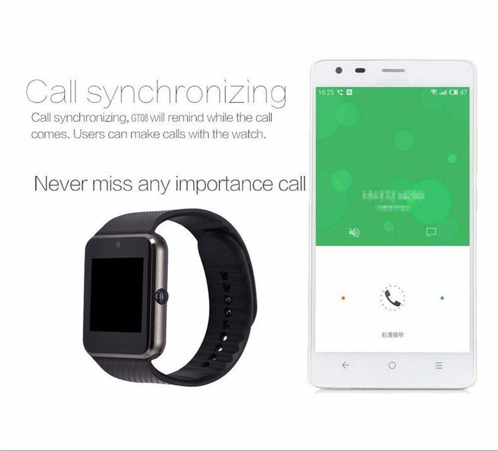 Zhaotian - Smartwatch GT08, soporta tarjeta SIM, con sincronización y notificaciones, conectividad por Bluetooth, pulsera de actividad para deporte y estado ...