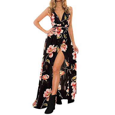 dba10c3d53a Aoopi Womens Sling Deep V Dress Holiday Strappy Maxi Long Boho Print Beach  Dresses (Black
