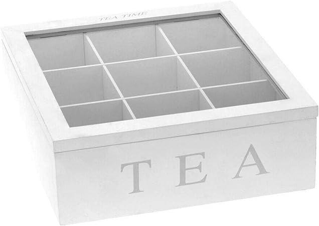 Caja de té de bambú con tapa 9 compartimentos Café Bolsa de té Organizador de almacenamiento
