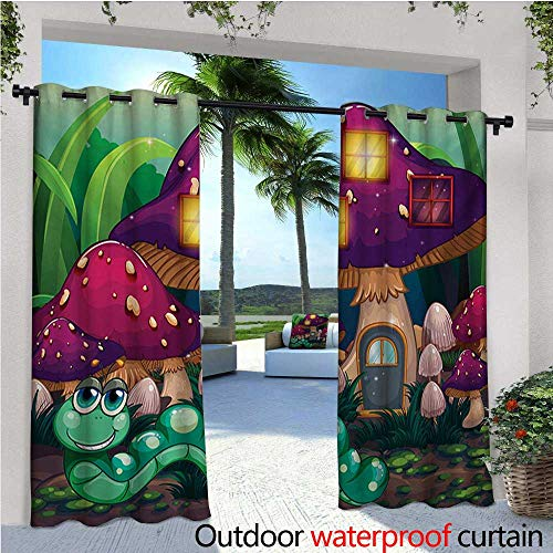 - Mushroom Outdoor- Free Standing Outdoor Privacy Curtain Illustration of a Long Worm Near Mushroom Houses Fictional Cute Little Creatures for Front Porch Covered Patio Gazebo Dock Beach Home W96 x L9