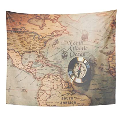 Map Of The World Before Columbus.Amazon Com Emvency Decor Wall Tapestry Christopher Columbus Day And