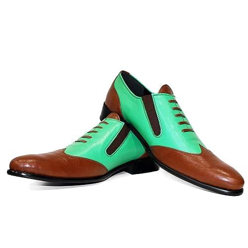 Modello Menta - Cuero Italiano Hecho A Mano Hombre Piel Vistoso Zapatos Vestir Oxfords - Cuero Cuero Suave - Ponerse: Amazon.es: Zapatos y complementos