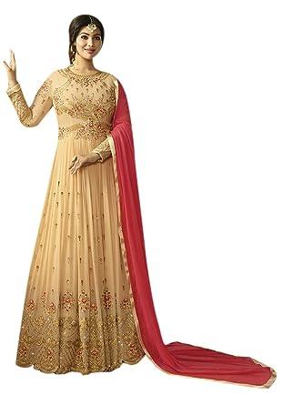 ecbc86d9c2 Brijraj Cream Georgette Zari Anarkali Suit: Amazon.in: Clothing &  Accessories