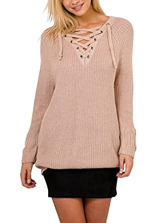 0e45011132 CHOiES record your inspired fashion Choies Women Khaki Long Sleeve V Neck Lace  up Knit Jumper Sweater Dress M at Amazon Women s Clothing store
