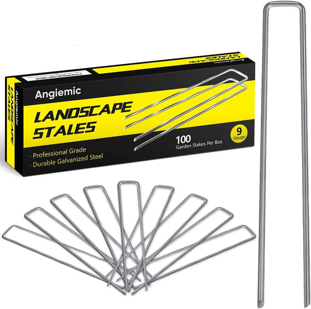 Angiemic 100 Pack 12 Inch 9 Gauge Galvanized Landscape Staples Garden Stakes Ground Staples Sturdy Rustproof Landscaping Staples Sod Pins for Anchoring Weed Barrier Landscape Fabric Ground Cover Fence