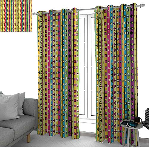 Blackout Curtains for Bedroom Retro,Colorful Striped Abstract Pattern Triangles Squares and Kaleidoscope Fun Shapes Art Print,Multi,Darkening Grommet Window Curtain-Set of 2 54
