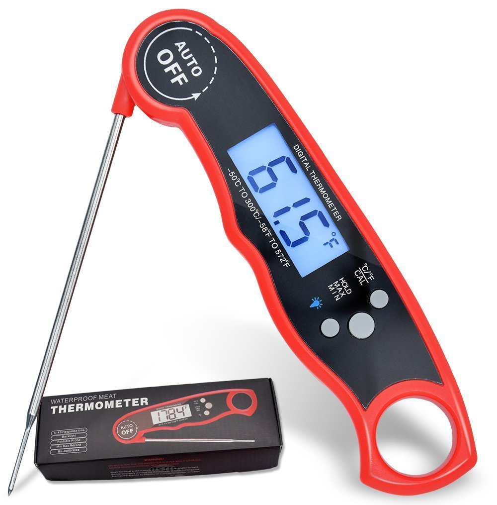 Digital Instant Read Cooking Thermometers Waterproof Electronic Barbecue Grill Meat Food Thermometers with Stainless Probe for Kitchen Cooking, BBQ, Poultry, Grill Food (Black)