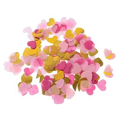 Gazechimp 1400pcs Mini Coeur Papier PET Confettis de Table Multicolore Fourniture Décor de Fête 2 x 2.5cm - Rose Or