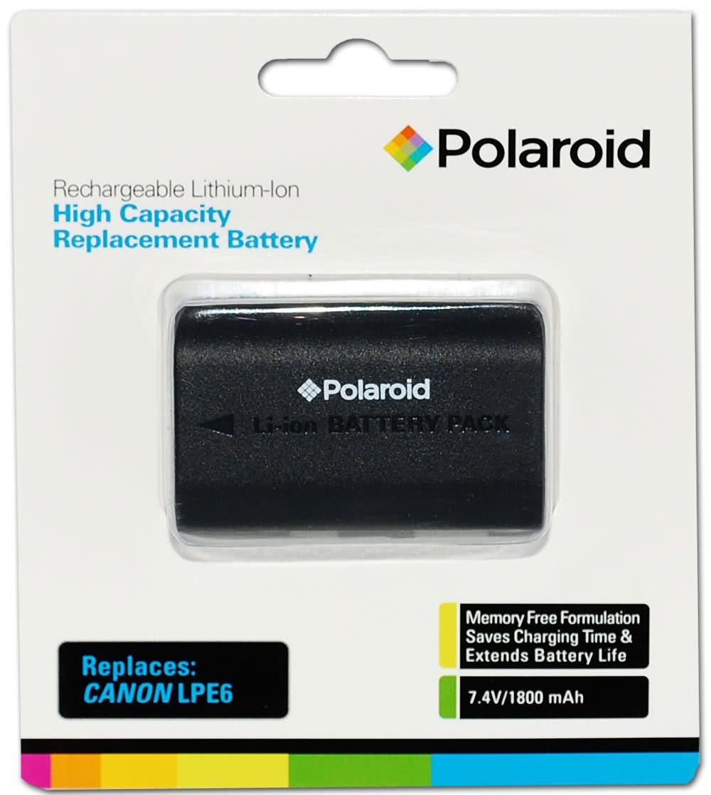 Polaroid High Capacity Canon LPE6 Rechargeable Lithium Replacement Battery (Compatible With: Canon EOS 5D Mark II, 7D, 60D)