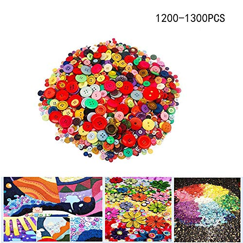 1200-1300PCS Around Craft Buttons, Assorted Resin Buttons,Colorful Buttons,2 and 4 Holes Round Craft Buttons for Sewing Fasteners and DIY Handmade Craft